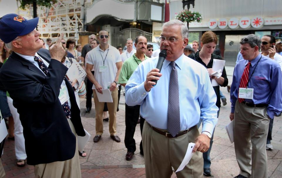 Boston Mayor Thomas Menino gave a tour to Boston Business leaders and others during a Experience Boston Event in 2008.